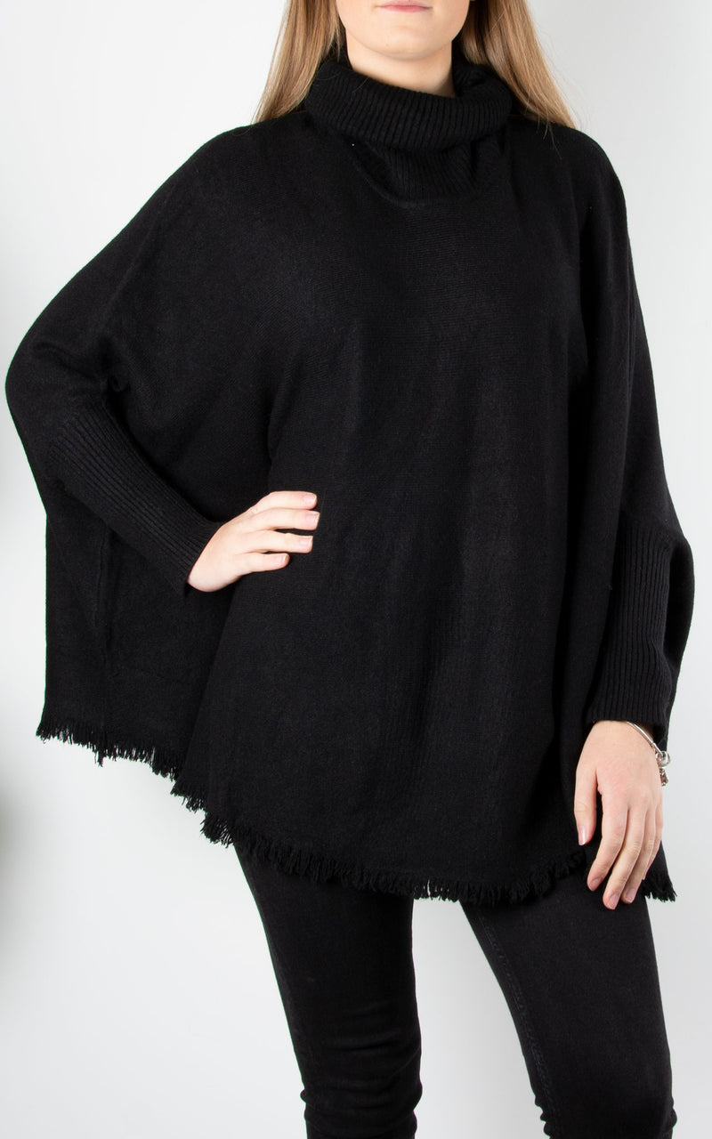 Fringed Hem Roll Neck Knit | Black