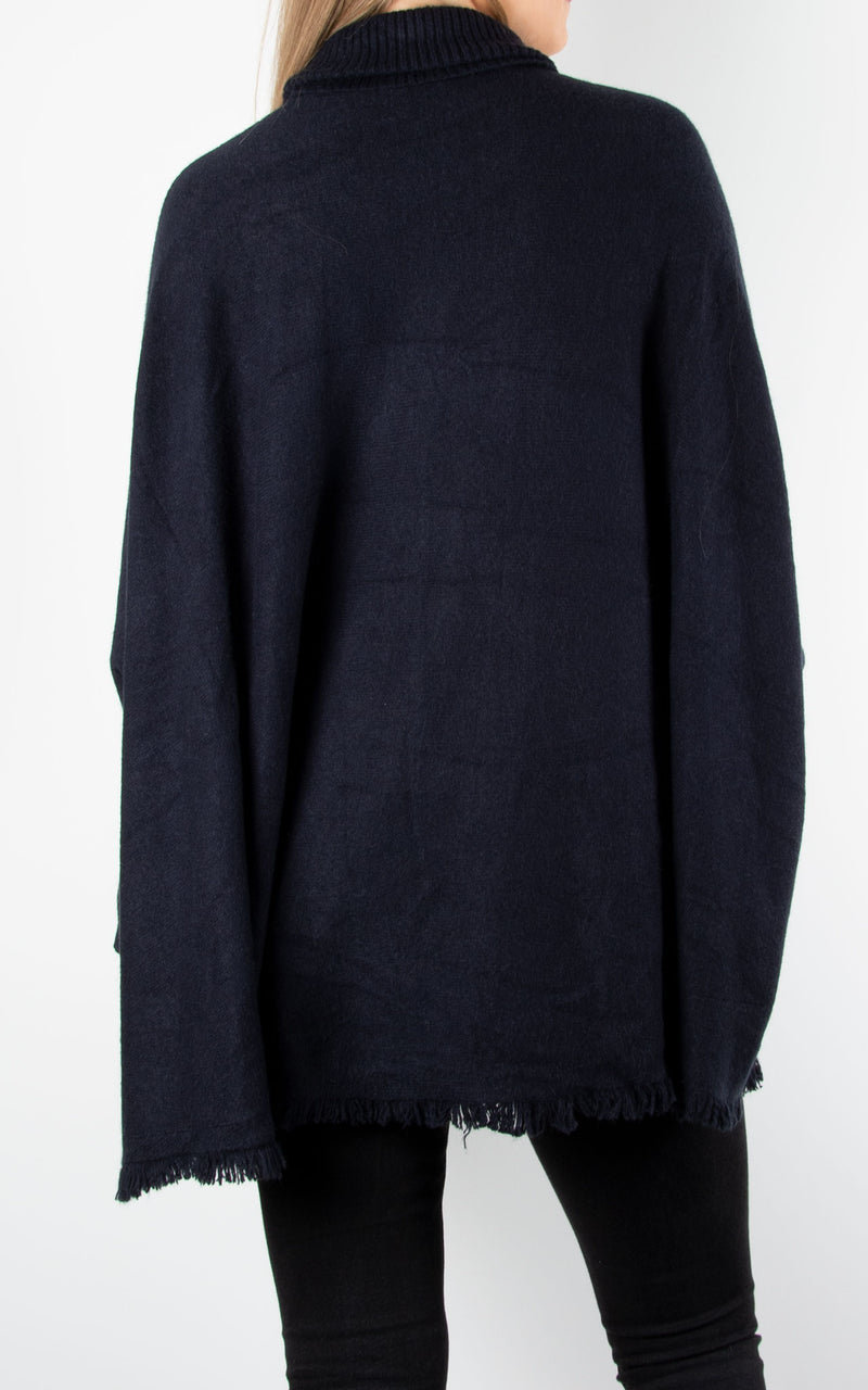 Fringed Hem Roll Neck Knit | Navy