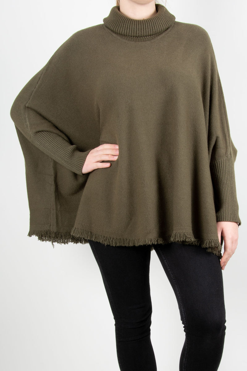 Fringed Hem Roll Neck Knit | Khaki