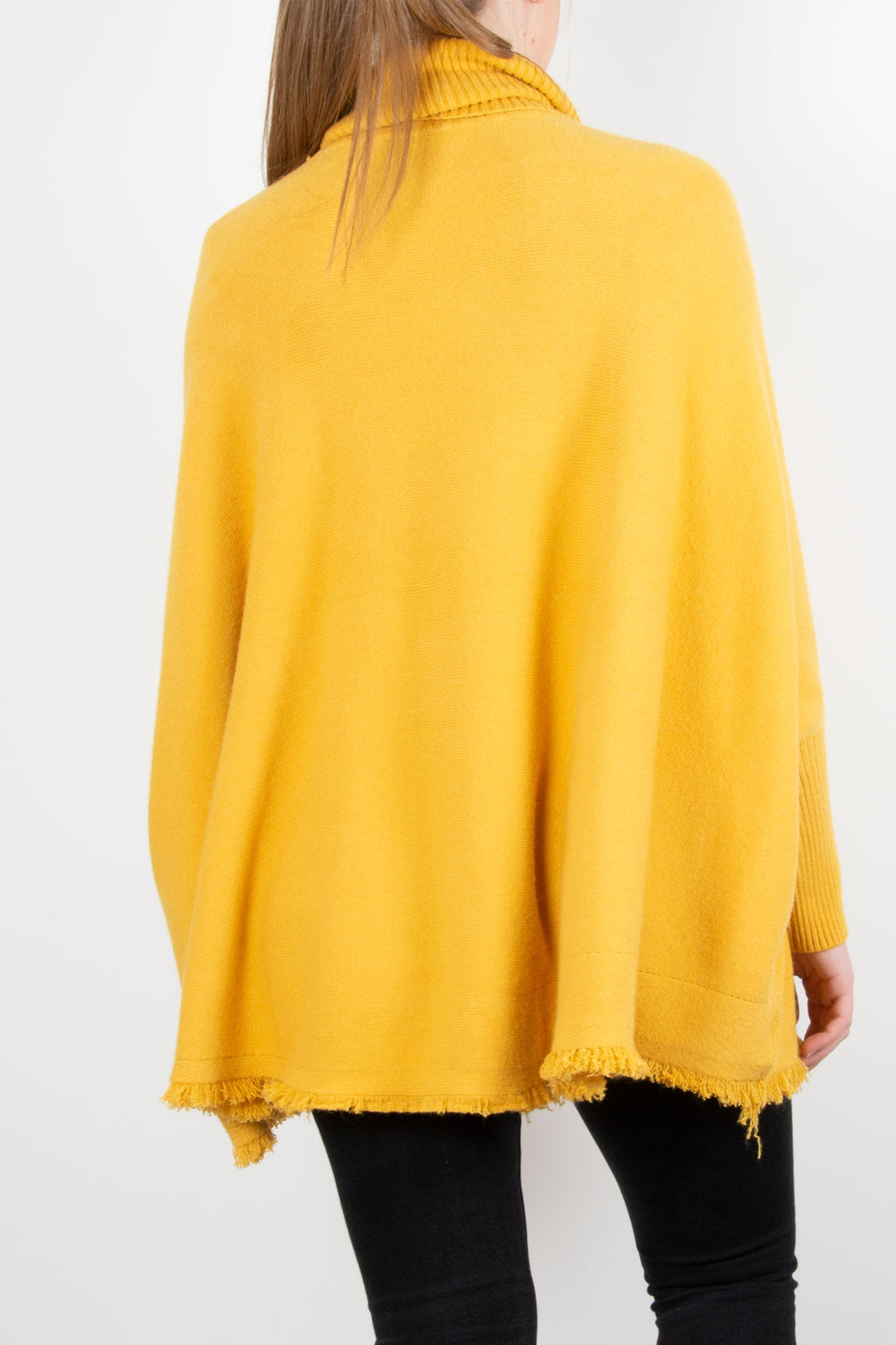 Fringed Hem Roll Neck Knit | Yellow