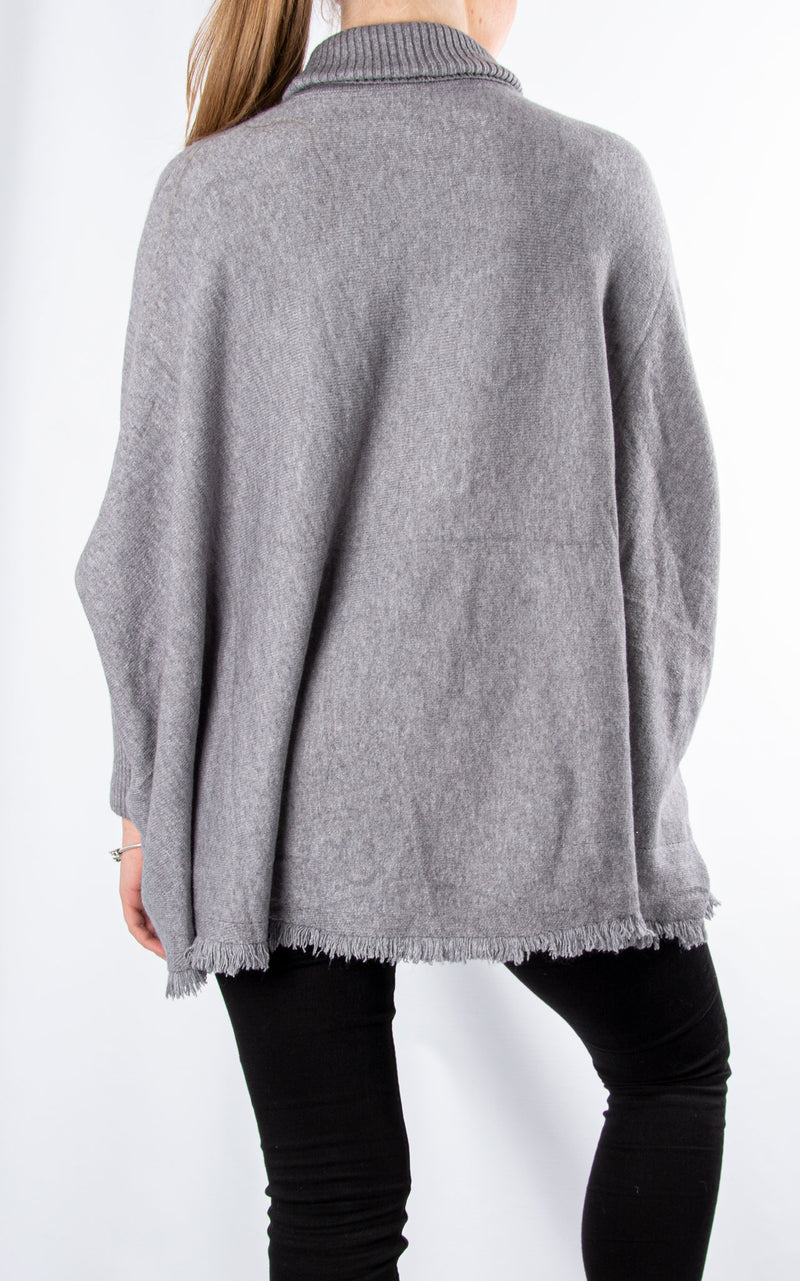 Fringed Hem Roll Neck Knit | Grey