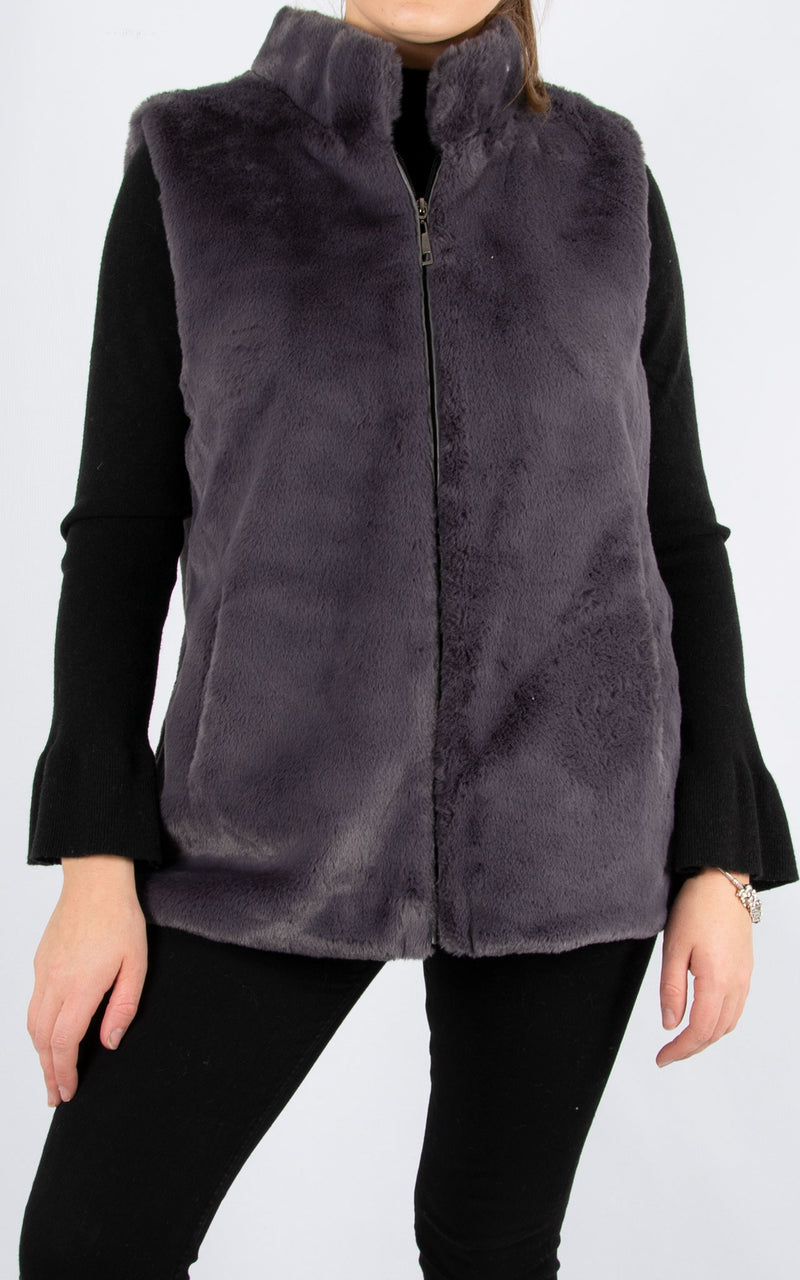 Fur Gillet | Dark Grey