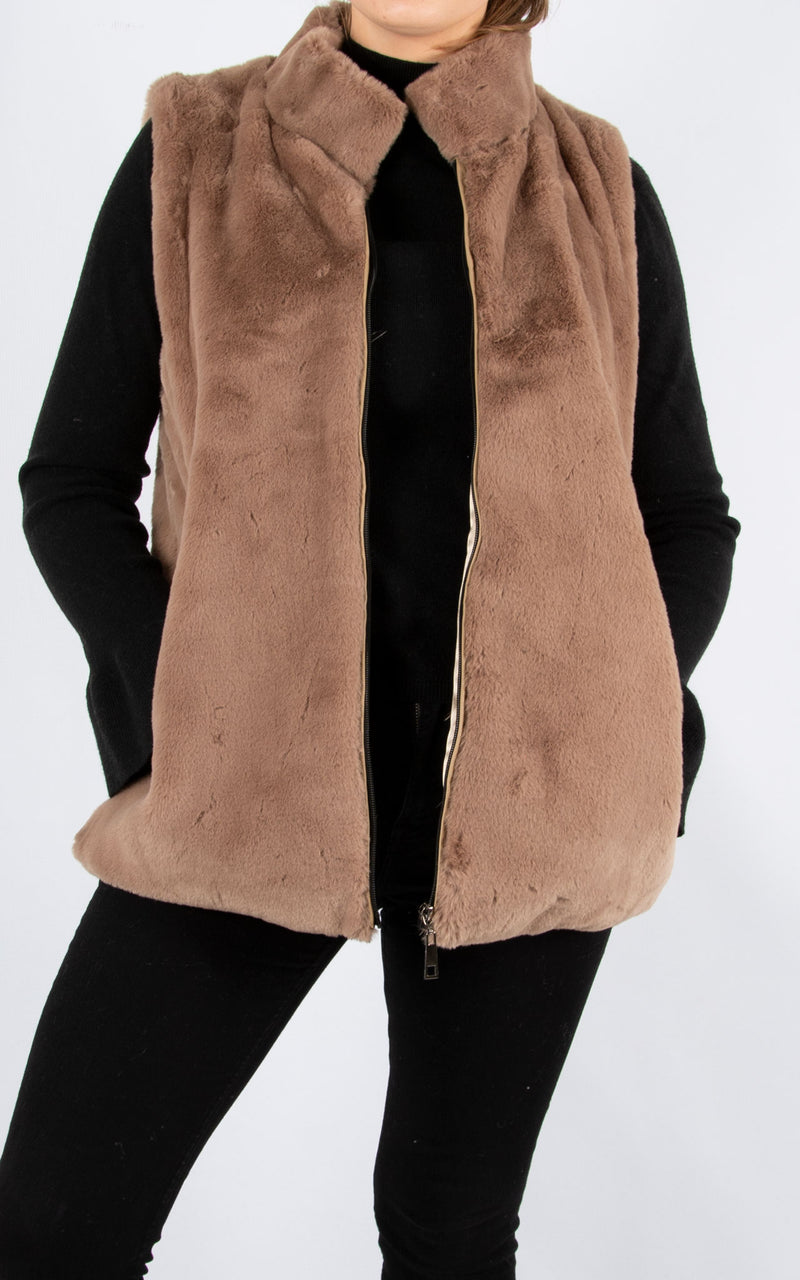 Fur Gillet | Tan