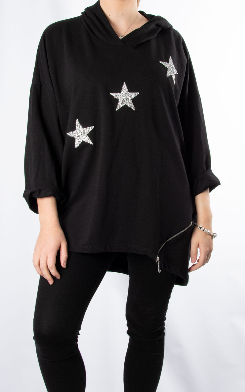 Glitter Star Sweat | Black
