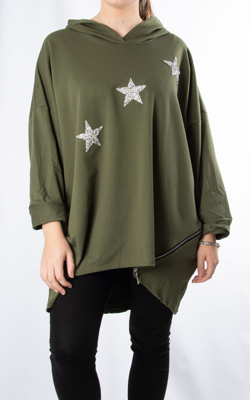 Glitter Star Sweat | Khaki