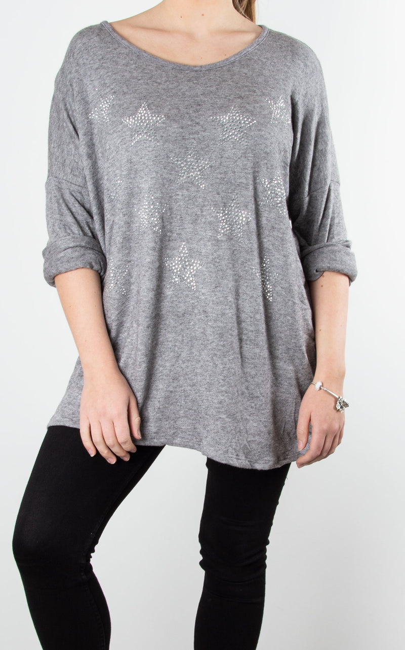 Glitter Stars | Fine Knit Top | Grey