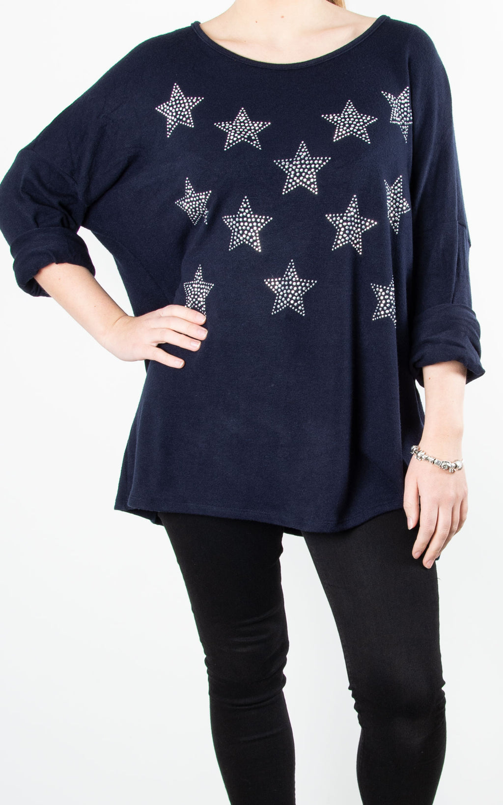 Glitter Stars | Fine Knit Top | Navy