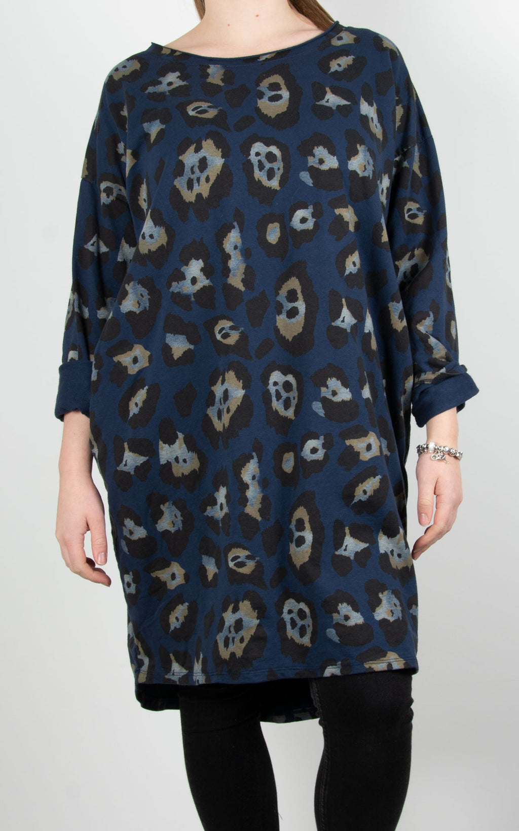 Gloria Leopard Tunic | Navy