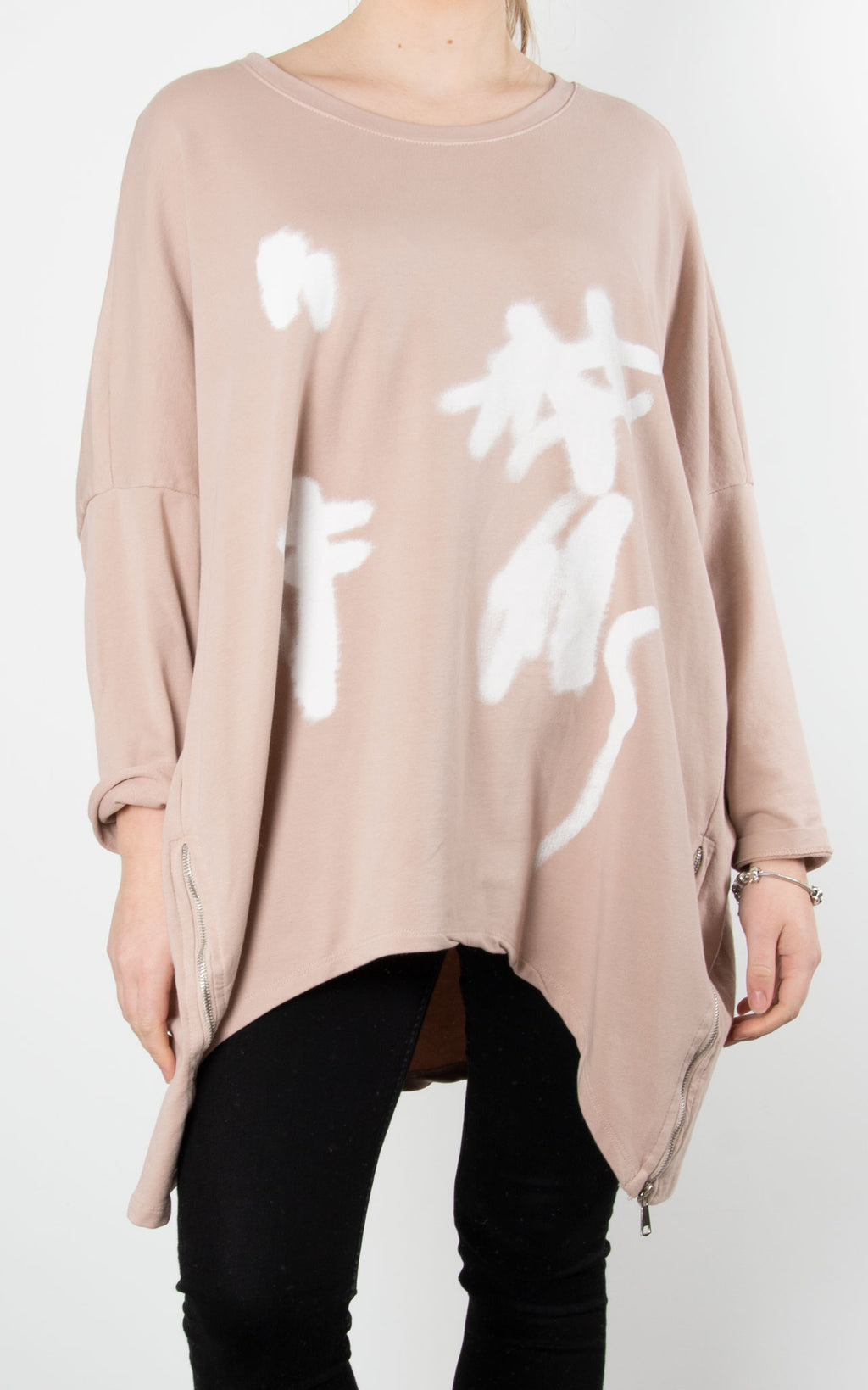 Graffiti Zip Sweat | Pink