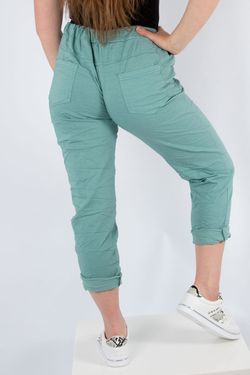 Green Plain Stretch Jogger |  Made in Italy