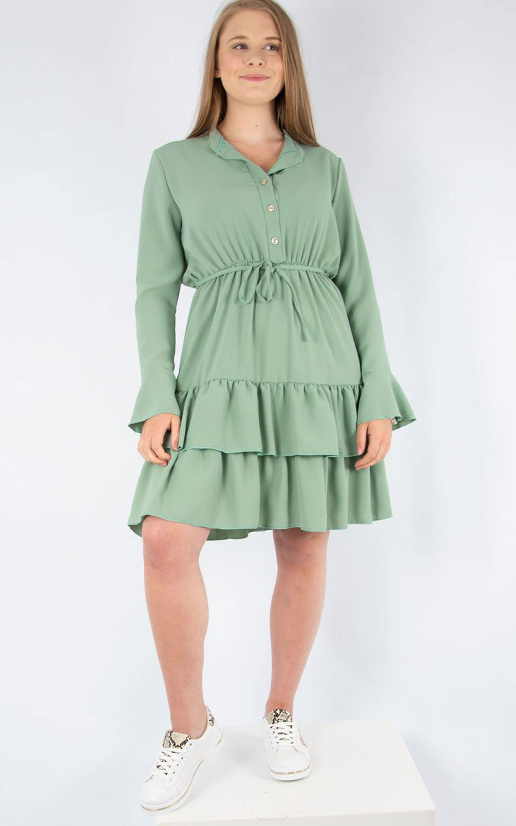 Plain Tea Dress | Green