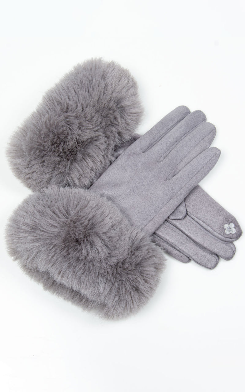 Faux Fur Gloves | Light Grey