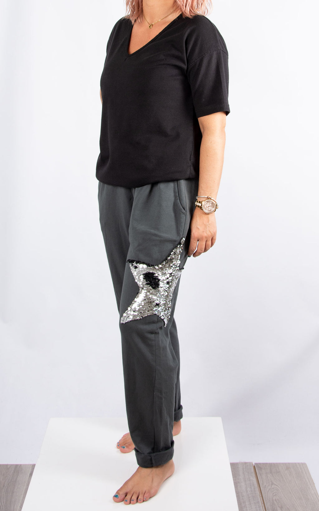 Hayley Star Jogger : Charcoal
