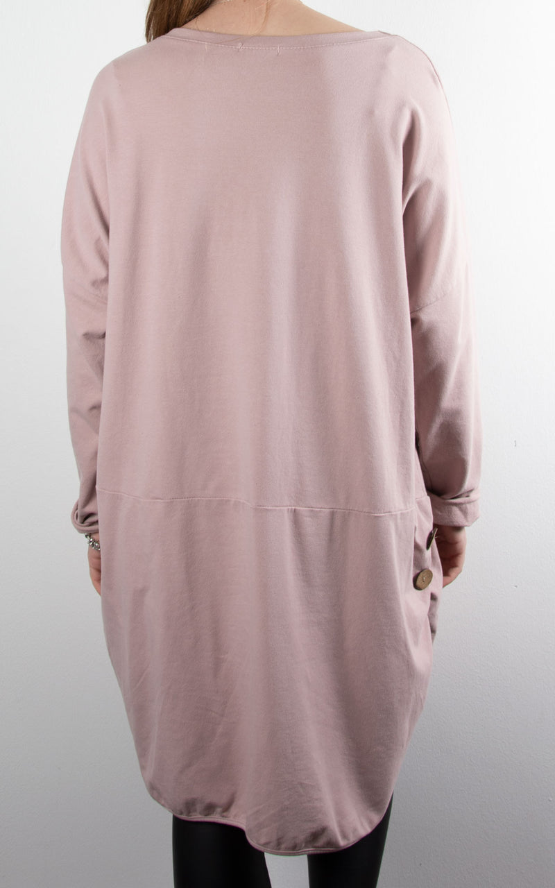 Heart Button Tunic | Pink