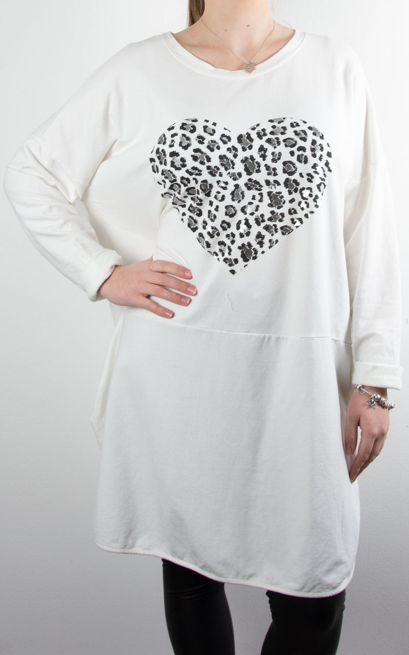Heart Button Tunic | Winter White