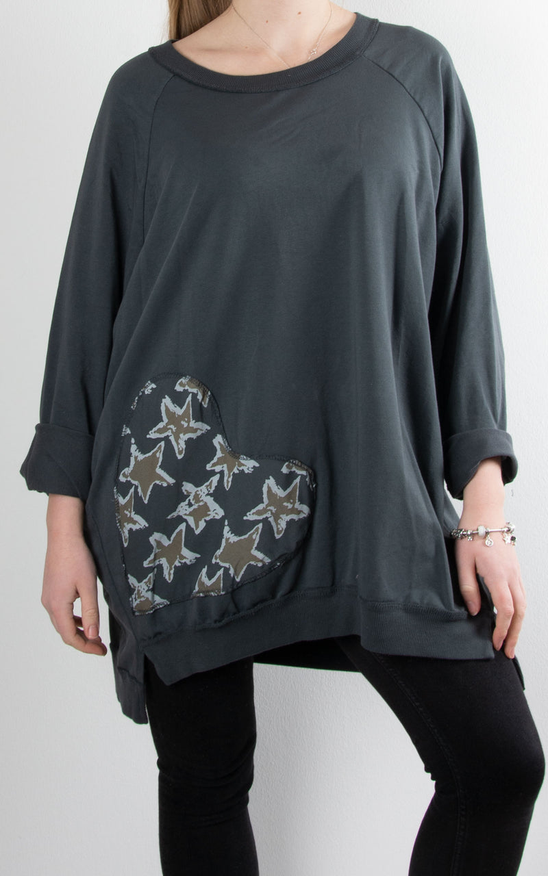 Heart Patch Tunic | Charcoal