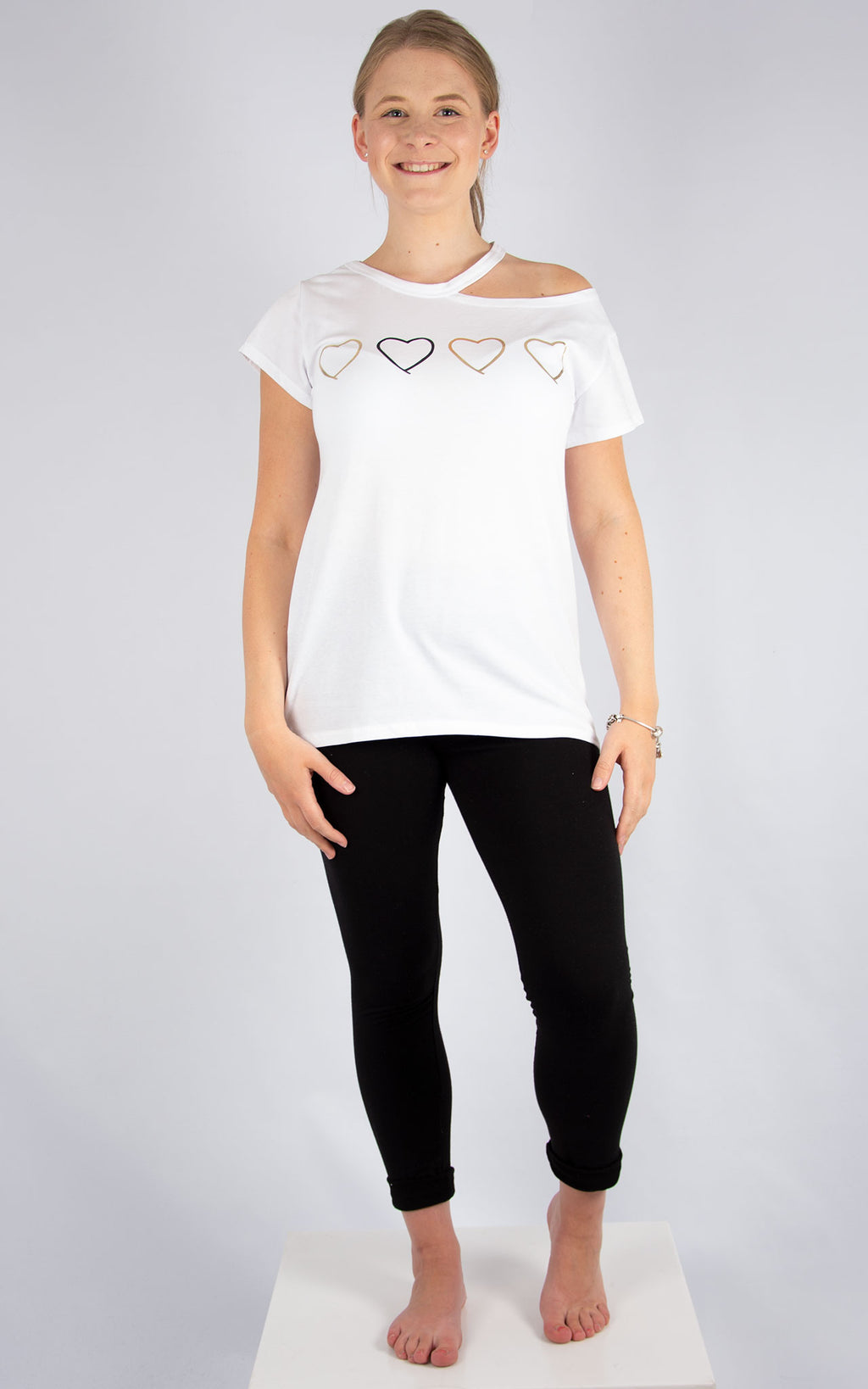 White Heart Split T | Made in Italy