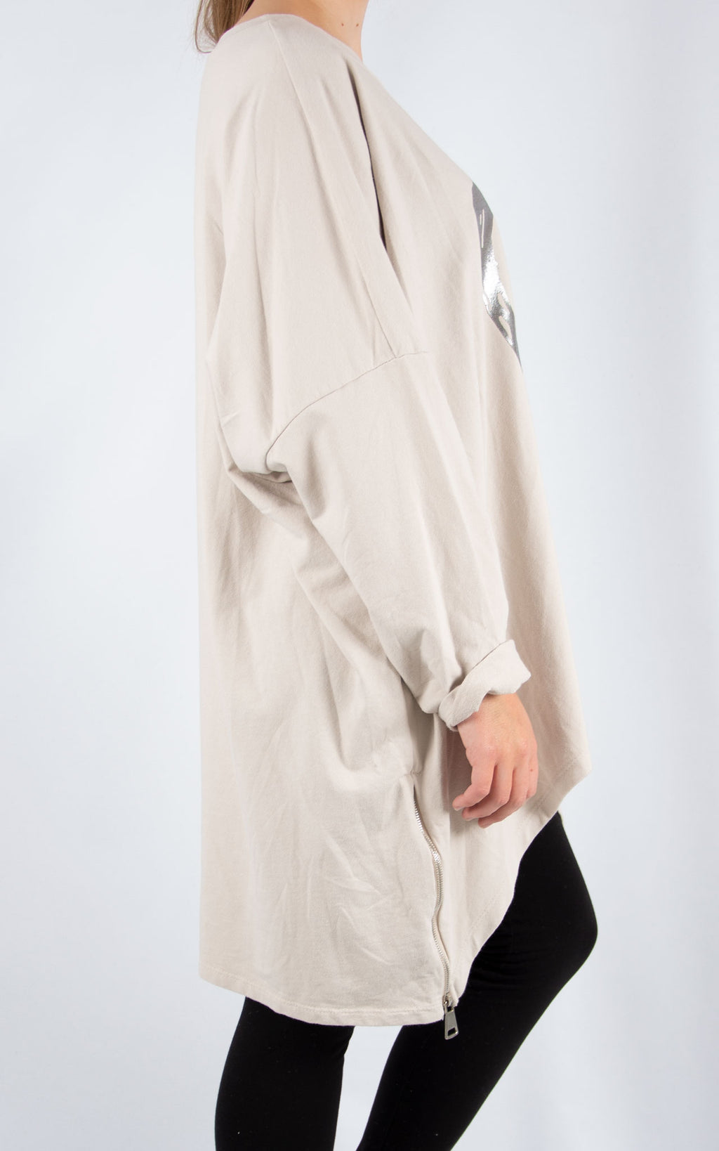 Beige Double Zip Heart Sweater