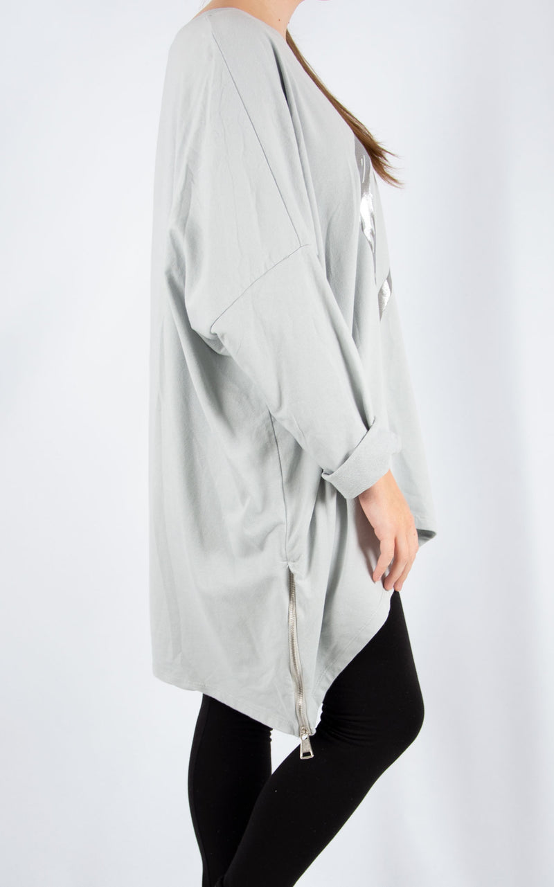 Light Grey Double Zip Heart Sweater