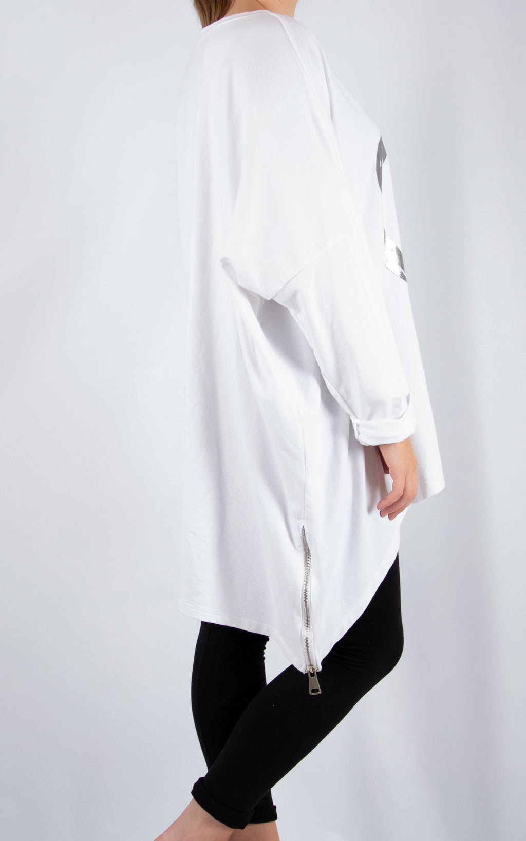 White Double Zip Heart Sweater