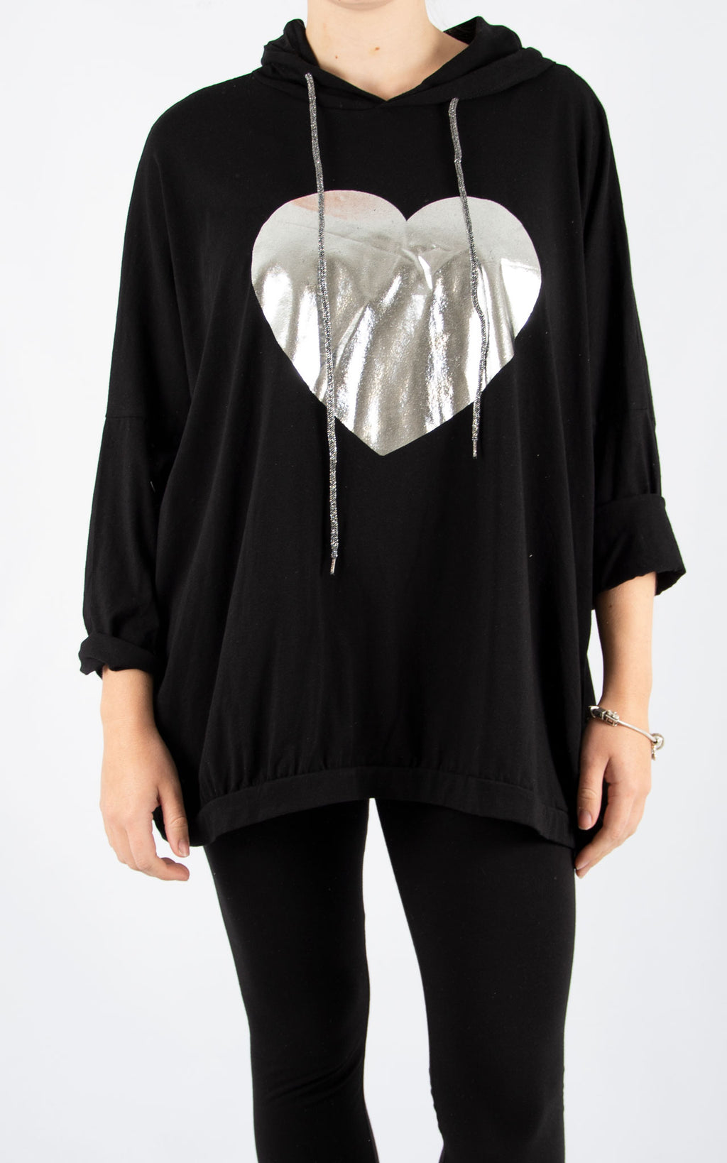 Layla Black Foil Heart Hoodie | Made In Italy