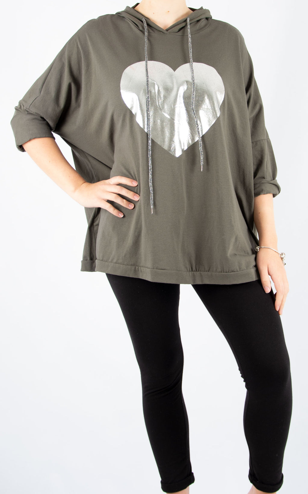 Layla Khaki Foil Heart Hoodie | Made In Italy
