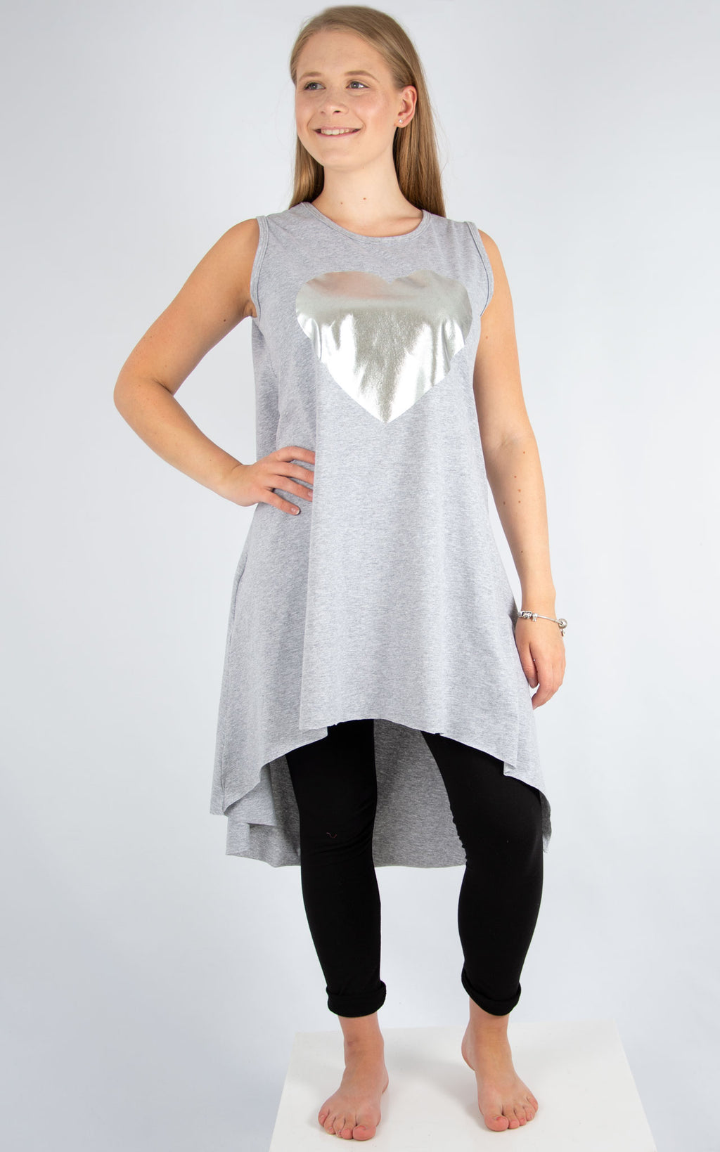 Grey Heart Vest Tunic | Made In Italy
