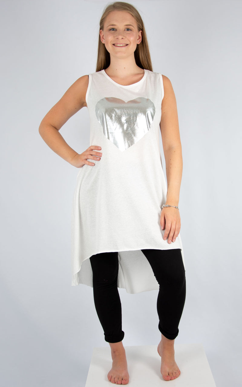 White Heart Vest Tunic | Made In Italy