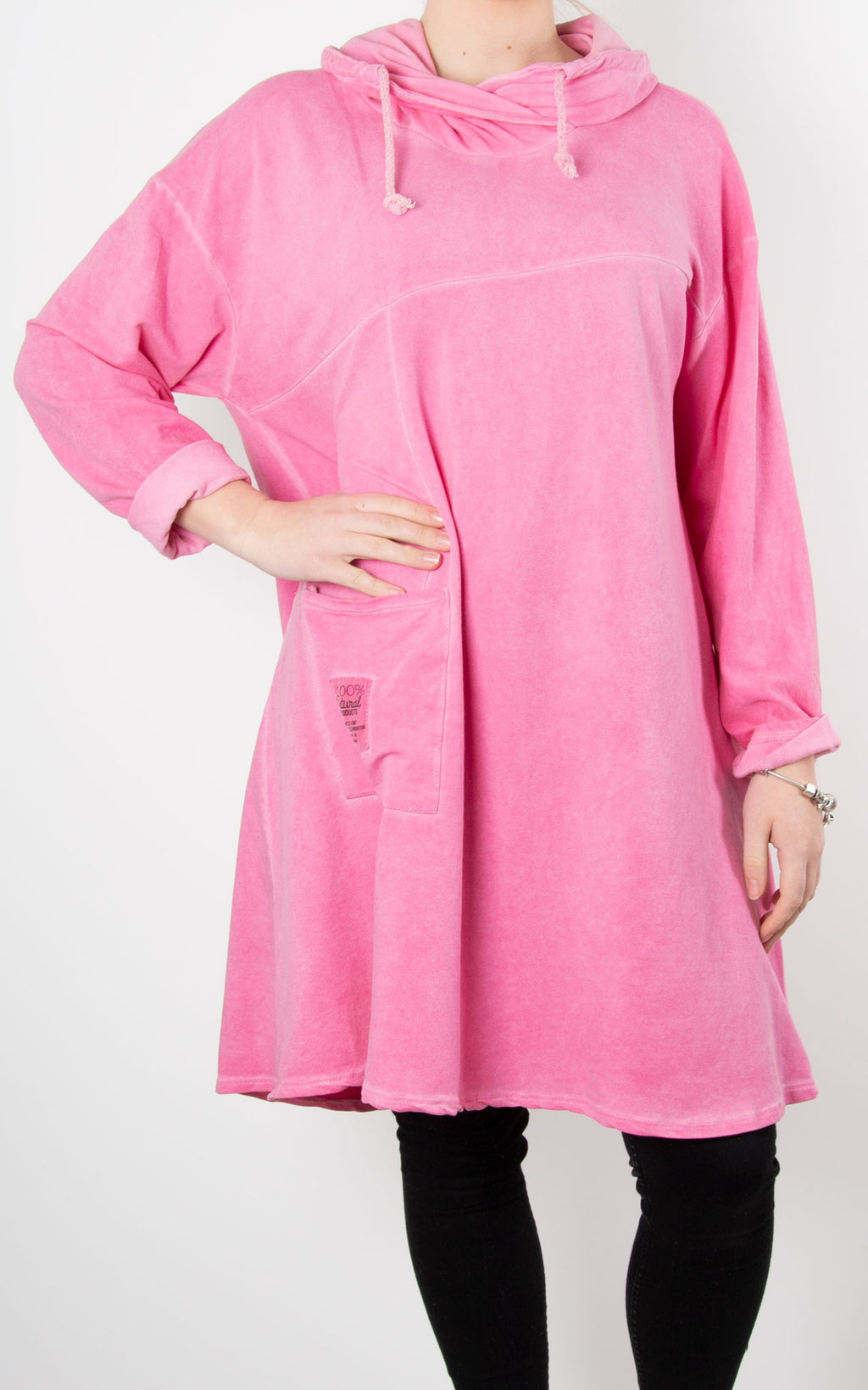 Helen Drawstring Sweat | Neon Pink