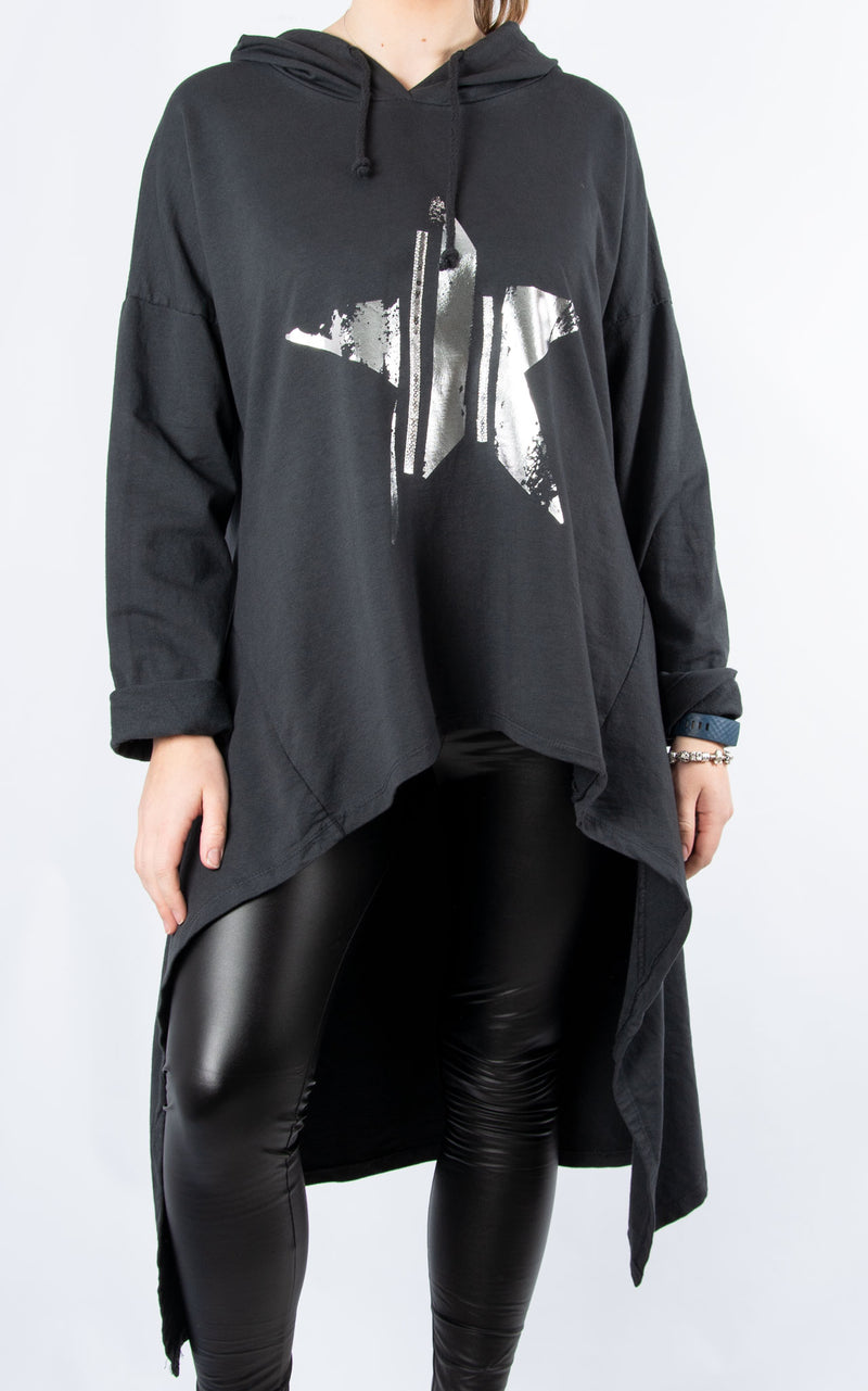 High Low Sparkle Star Hoodie | Charcoal