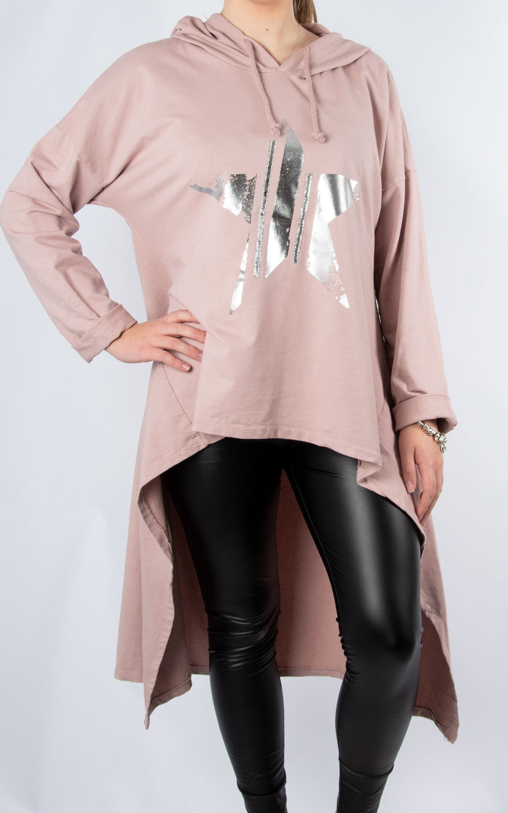 High Low Sparkle Star Hoodie | Pink