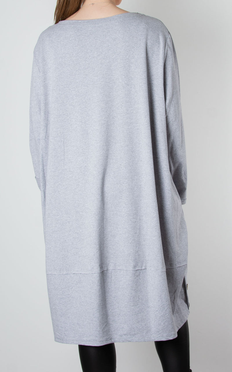 Hilary Button Tunic | Grey