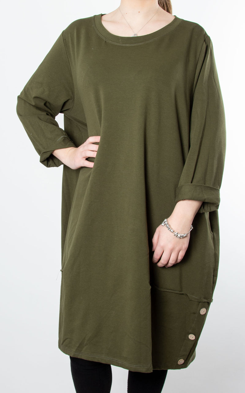 Hilary Button Tunic | Khaki