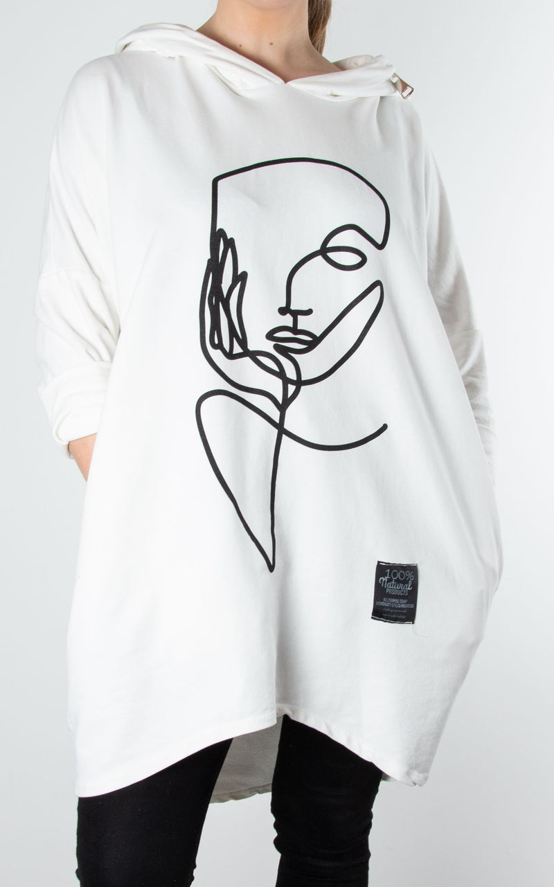 Hoodie Zip Face Sweat|White