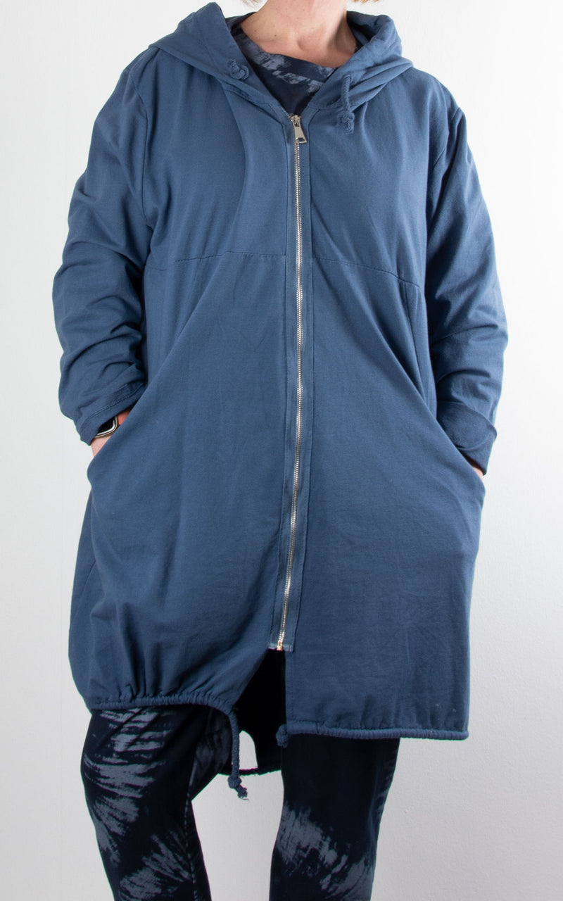 Zip Long Hoodie | Denim Blue