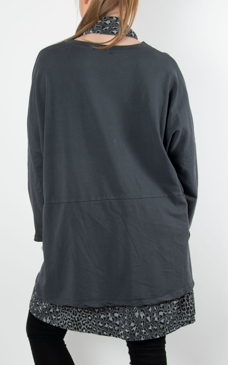 Jen Layered Back Sweat | Charcoal