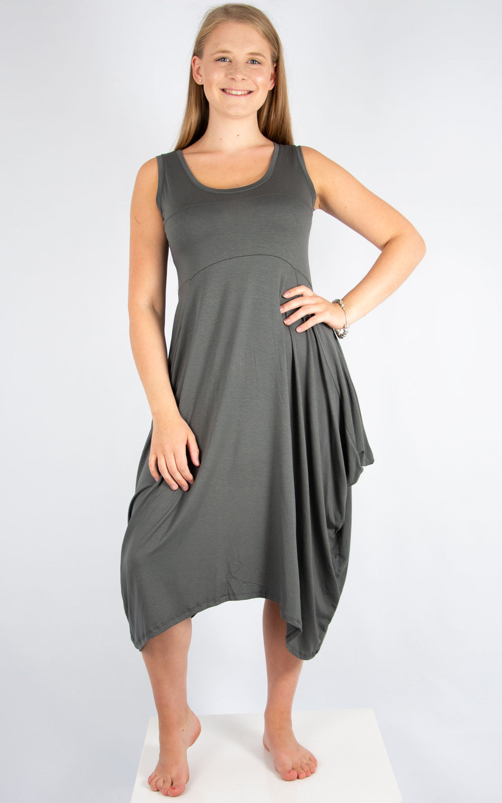 Dark Grey Simple Dress | Made In Italy