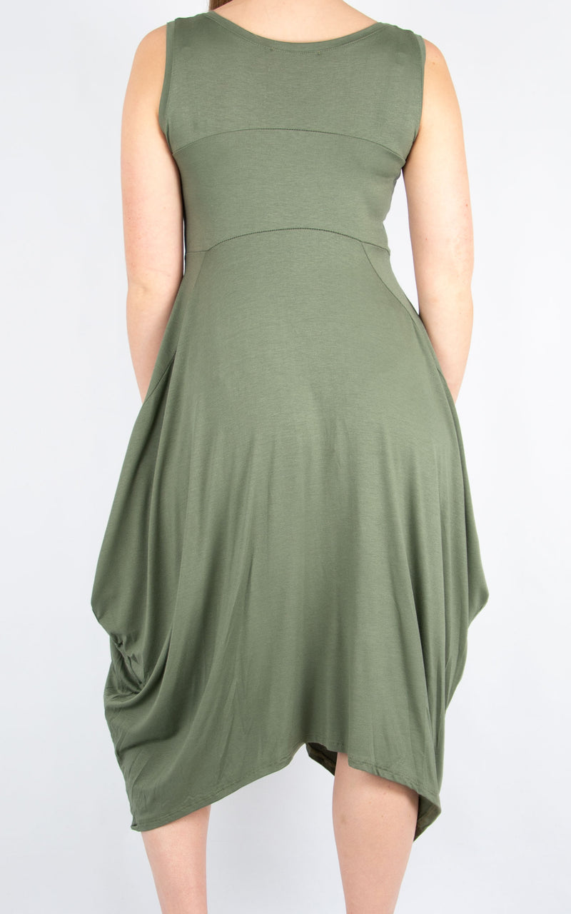 Khaki Simple Dress | Made In Italy