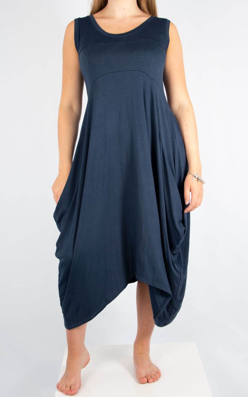 Navy Simple Dress | Made In Italy