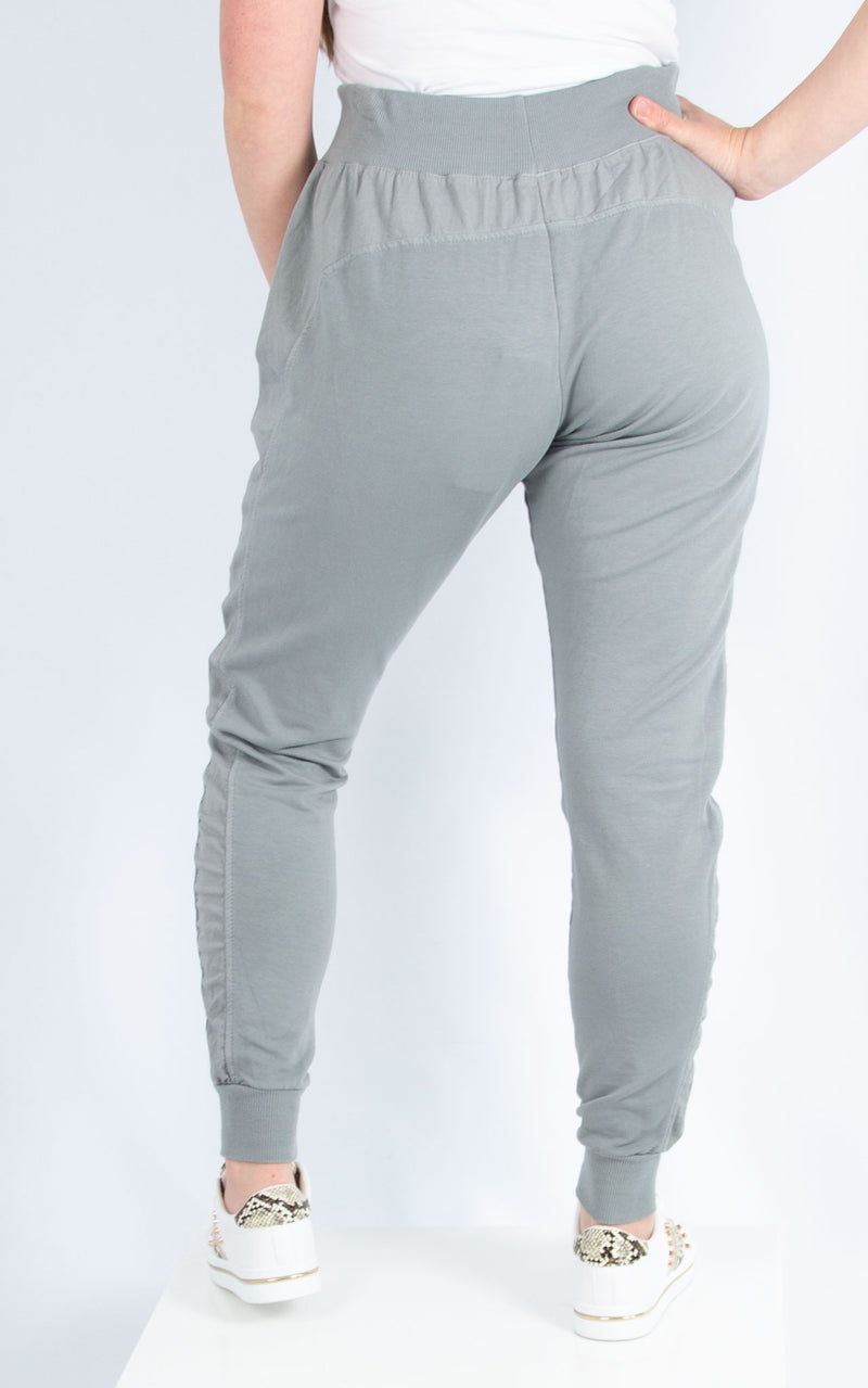 Grey Zip Pocket Joggers | Made in Italy