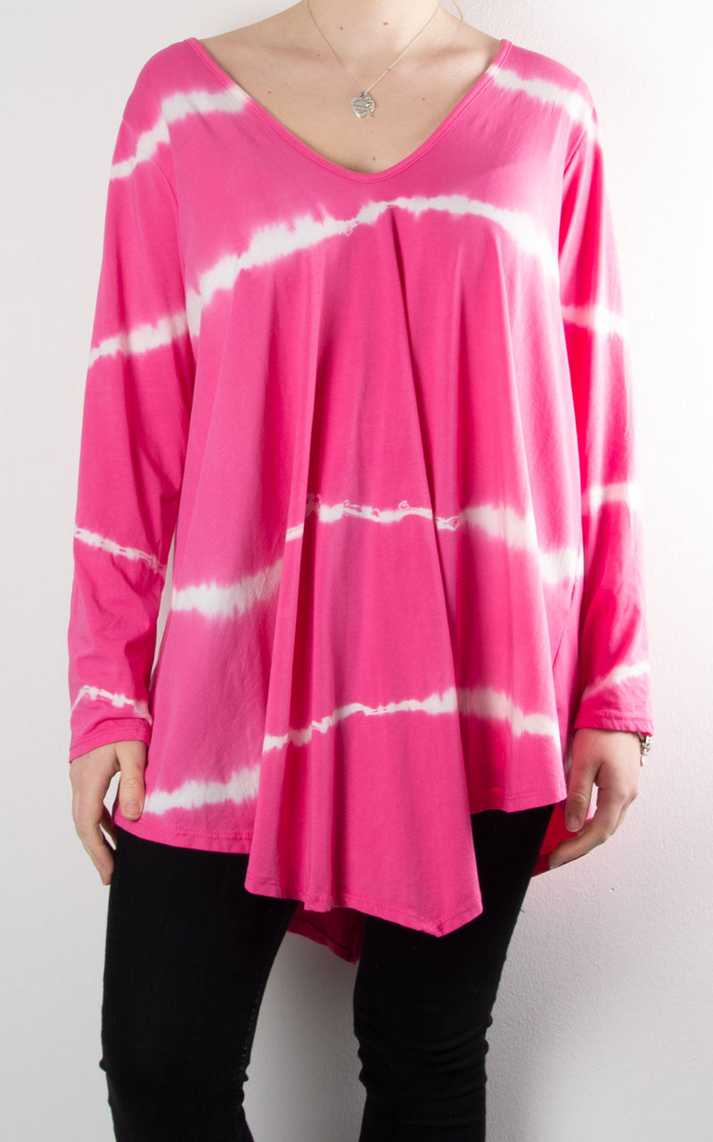 Juliette Tie Dye V Neck | Hot Pink