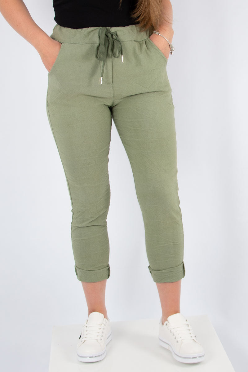 Khaki Stretch Plain Trouser | Made in Italy