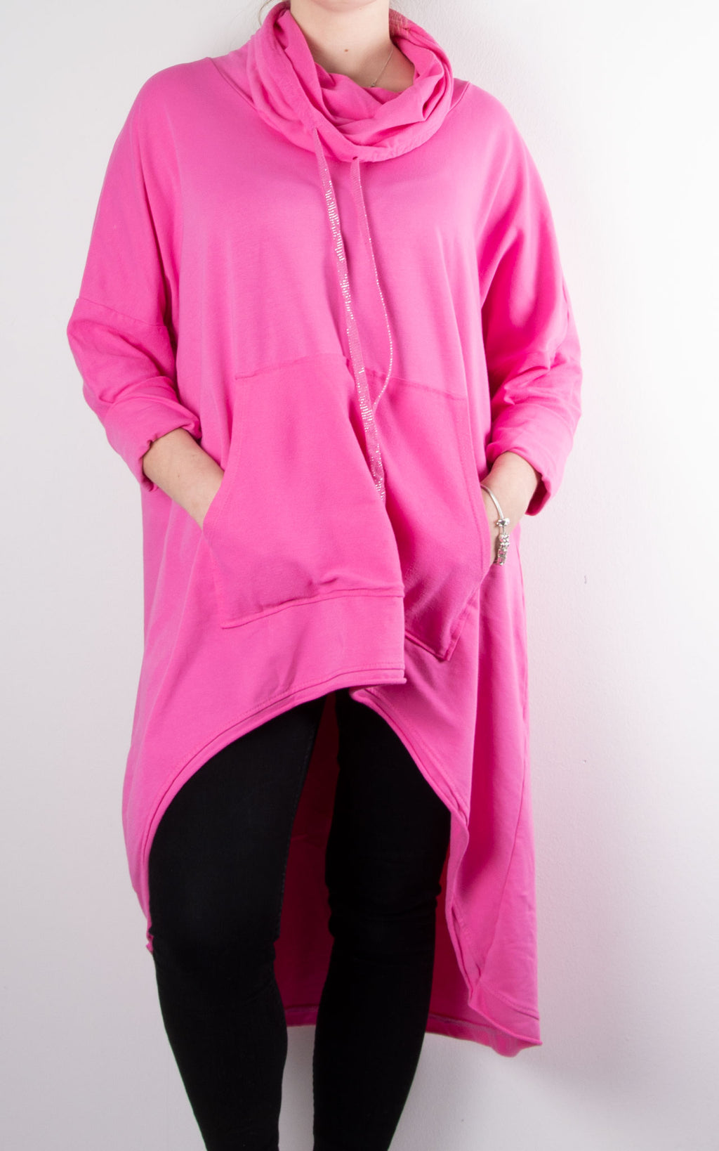 Kelly Pocket Cowl Sweat | Hot Pink