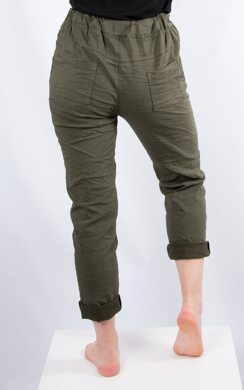 Khaki Plain Crinkle Jogger | Made in Italy