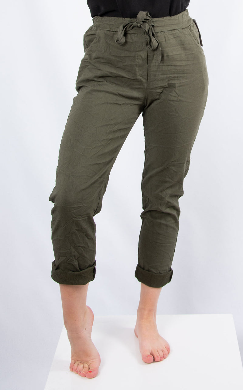 Khaki Magic Crinkle Jogger | Made in Italy