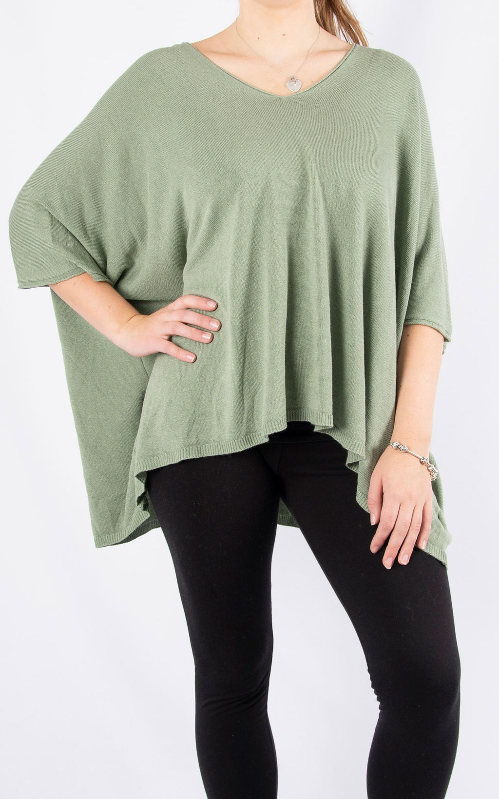 Khaki Thin Knit Batwing | Made In Italy