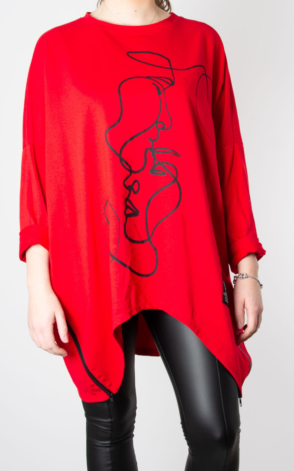 Kiss Zip Sweat | Red