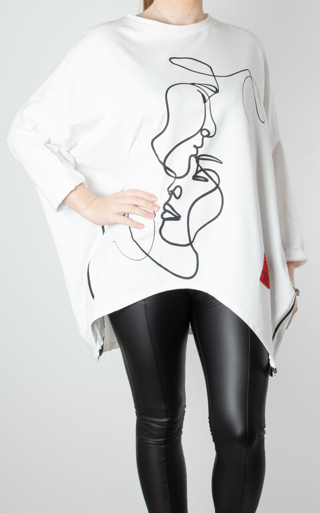 Kiss Zip Sweat | Winter White