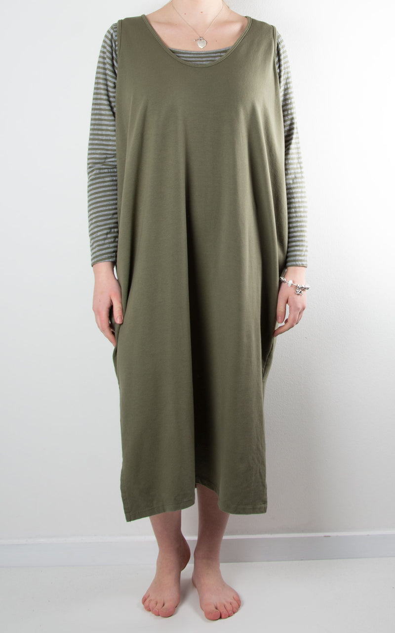 Lacey Pinafore Dress | Khaki