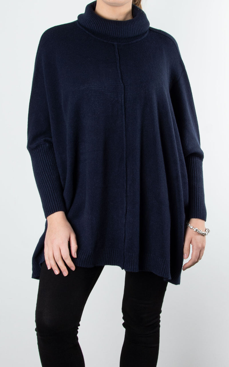 Lana Roll Neck Knit | Navy